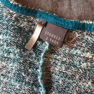 Sparkle & Fade Sweaters - Sparkle & Fade Oversized Teal/White Sweater Small
